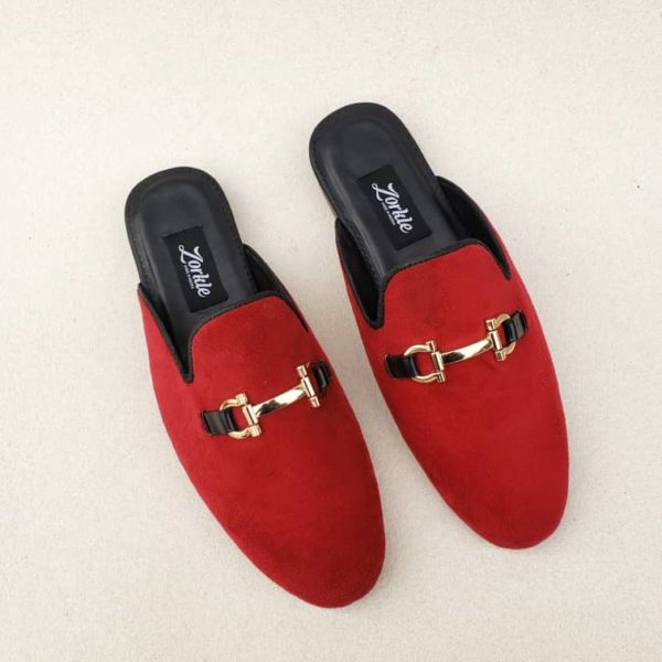 Shorla Mules Red Velvet ZMS119 - Zorkle Shoes