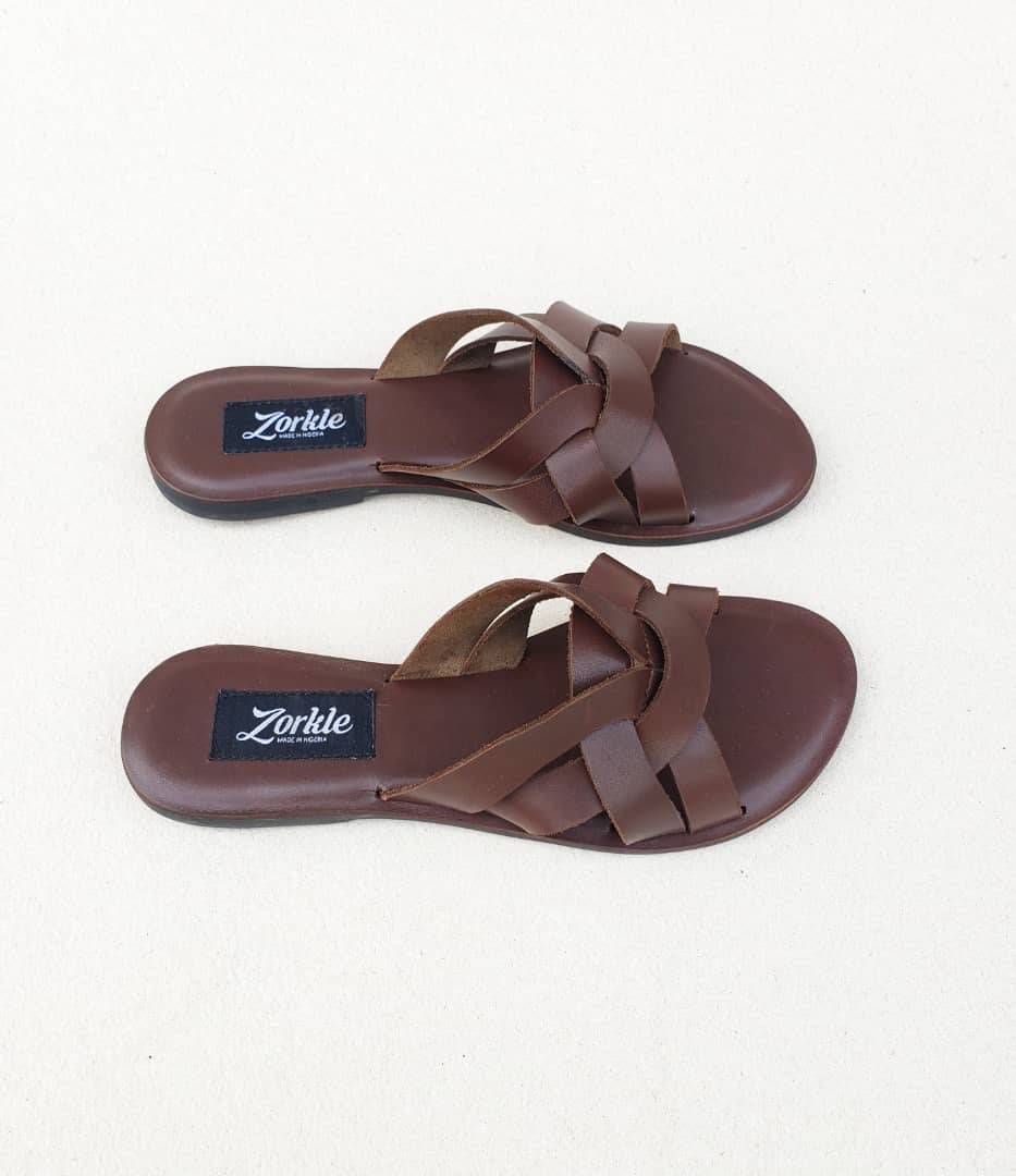 Shorlle Slippers Coffee Brown Leather ZFP076 - zorkle shoes