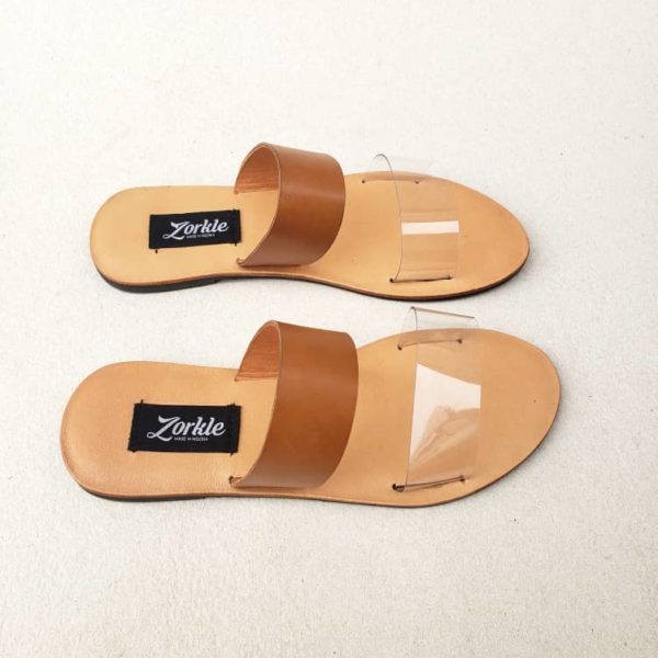 Tega Slippers Brown Vinyl And Leather