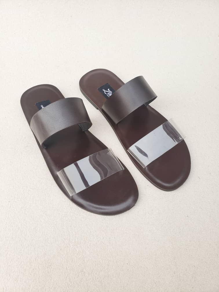 Tega Slippers Coffee Brown Vinyl and Leather ZFP079 - zorkle shoes