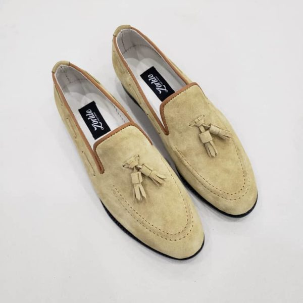 Trevor Tassel Loafers Beige Suede ZMS121 - Zorkle Shoes