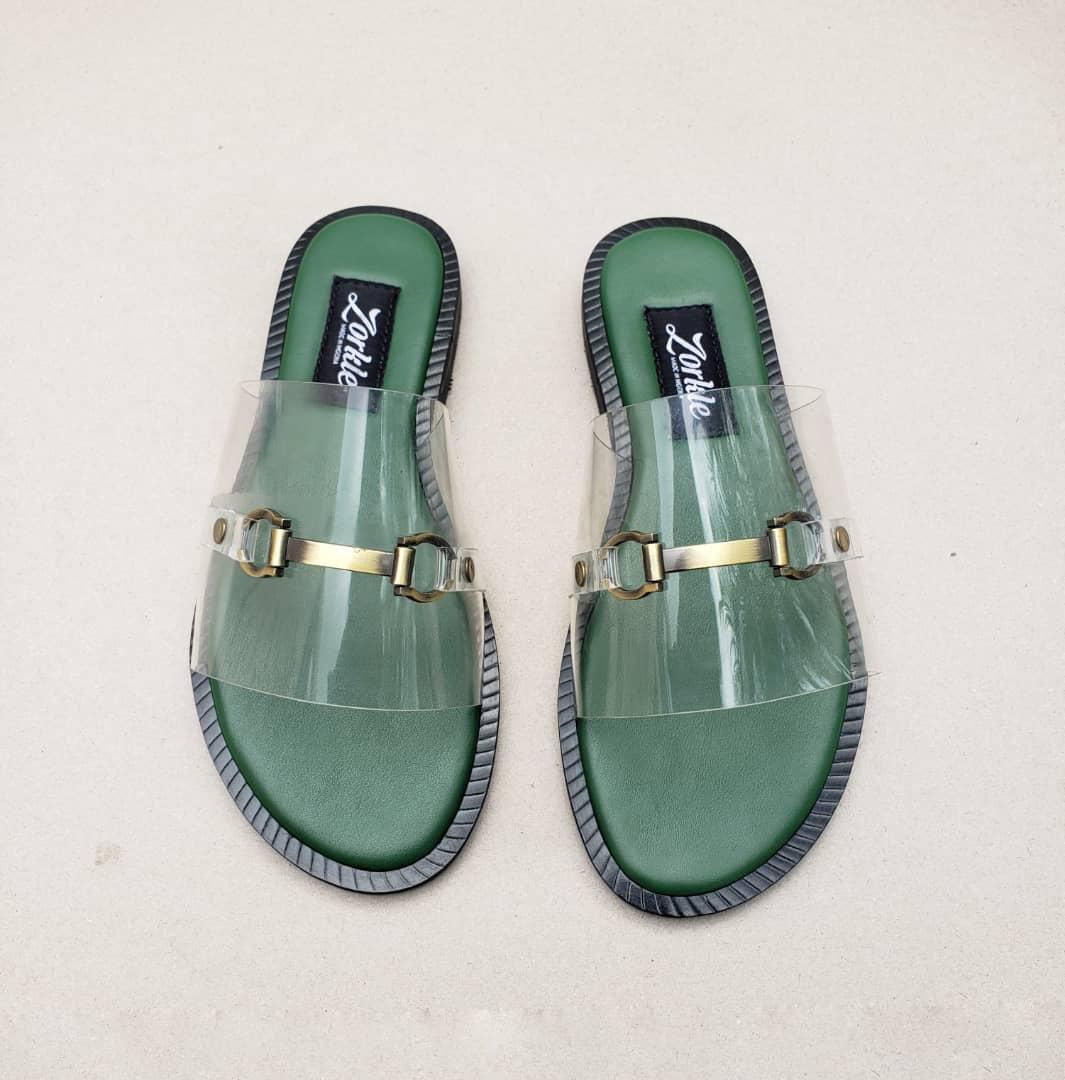 Lero Vinyl Green Slippers ZFP082- zorkle shoes