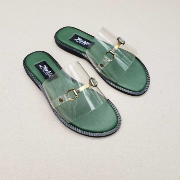 Lero Vinyl Green Slippers ZFP082- zorkle shoes