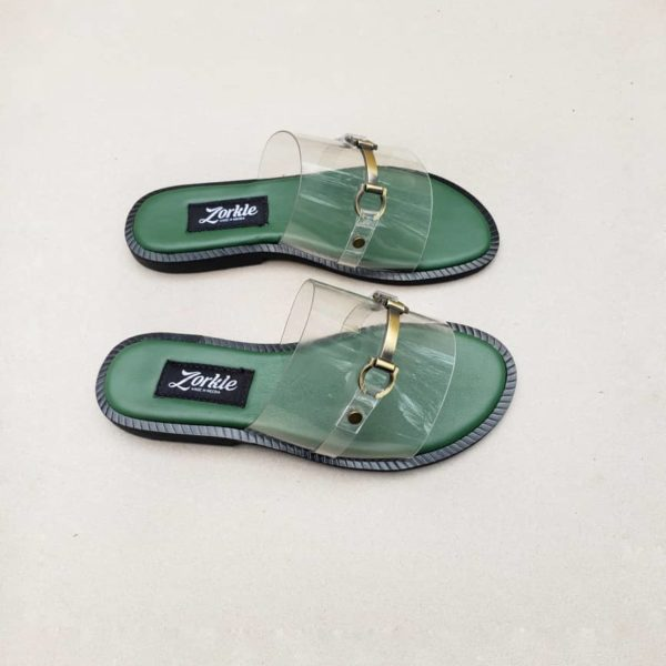 Nero Vinyl Green Slippers ZMP124 - Zorkle Shoes