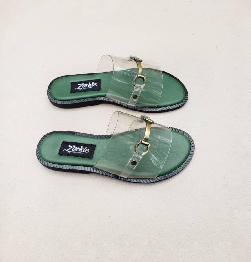 Nero Vinyl Green Slippers ZMP124 - Zorkle Shoes