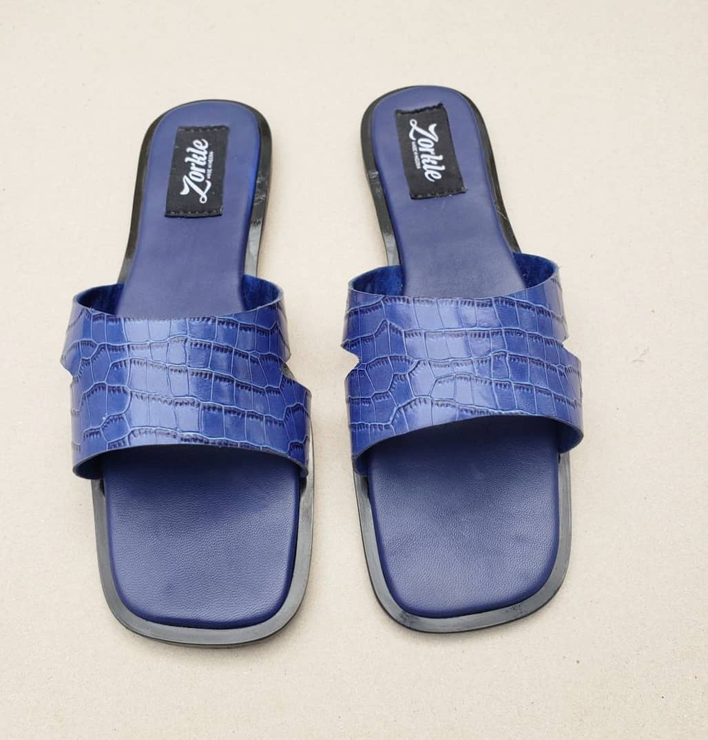Darah Blue Leather Slippers ZFP083- zorkle shoes