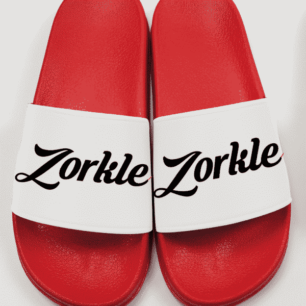 Bazato slides red and white ZMP130- Zorkle Shoes
