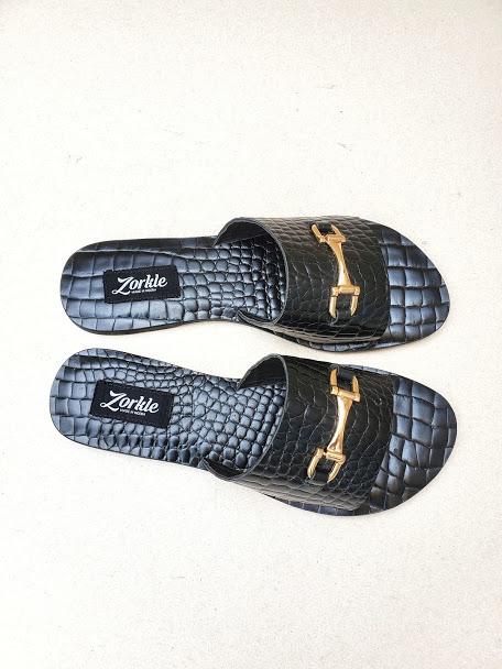 Lami Black Slippers ZFP091- zorkle shoes