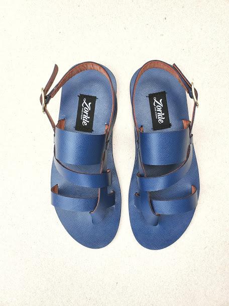 Kuti Sandal Blue Leather ZMD055 - Zorkle Shoes