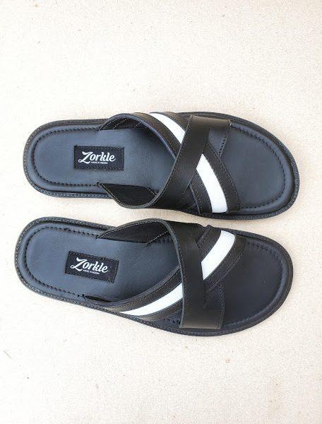 Lero Cross Slippers Black ZMP145 - Zorkle Shoes