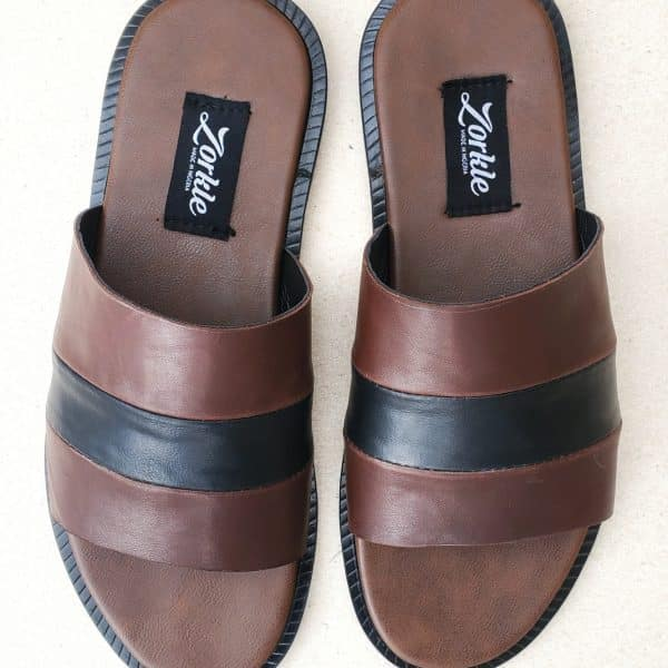 Falet Slippers Coffee Brown and Black ZMP148 - Zorkle Shoes