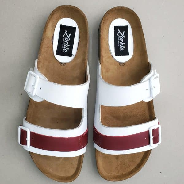 Derin Slippers White and Wine ZMP149 - Zorkle Shoes